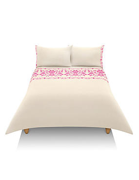 Floral Flock Embroidery Bedding Set