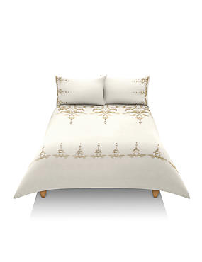 Pure Cotton Decorative Scroll Embroidery Bedset