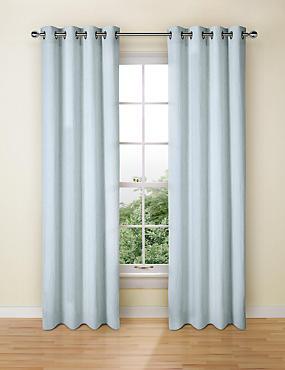 Pure Linen Eyelet Curtains, SOFT BLUE, catlanding