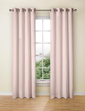 Pure Linen Eyelet Curtains, SOFT PINK, catlanding