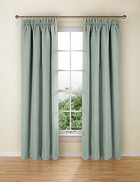 Bantry Weave Pencil Pleat Curtains, DUSTY BLUE, catlanding