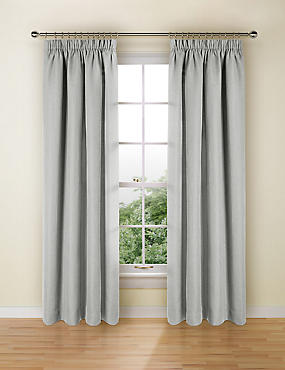 Bantry Weave Pencil Pleat Curtains, GREY, catlanding