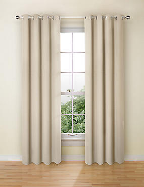 Pure Cotton Curtains, NATURAL, catlanding