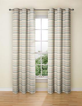 Geo Chenille Curtains, DUCK EGG, catlanding