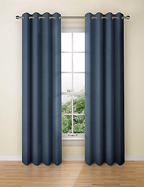 Textured Weave Eyelet Curtain, NAVY, catlanding