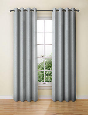 Textured Weave Eyelet Curtain, DARK GREY, catlanding