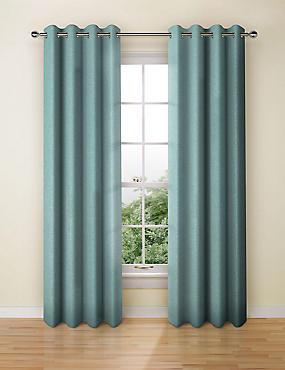 Textured Weave Eyelet Curtain, JADE, catlanding
