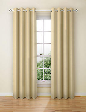 Wool Look Eyelet Curtain, OCHRE, catlanding