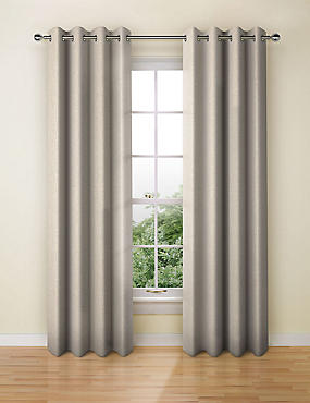 Wool Look Eyelet Curtain, GREY, catlanding