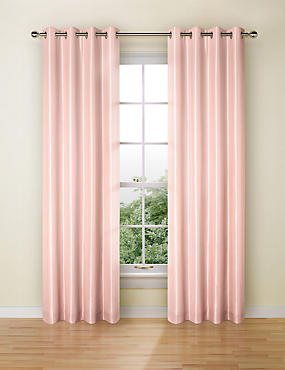 Faux Silk Eyelet Black Out Curtain