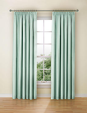 Faux Silk Black Out Pencil Pleat Curtain, DUCK EGG, catlanding