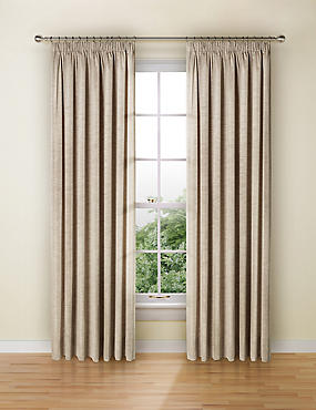 Faux Silk Black Out Pencil Pleat Curtain, OATMEAL, catlanding