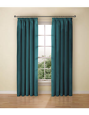 Faux Silk Black Out Pencil Pleat Curtain, TEAL, catlanding