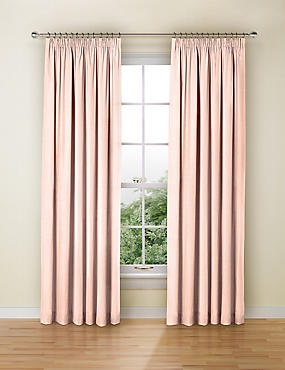 Faux Silk Black Out Pencil Pleat Curtain, PALE PINK, catlanding