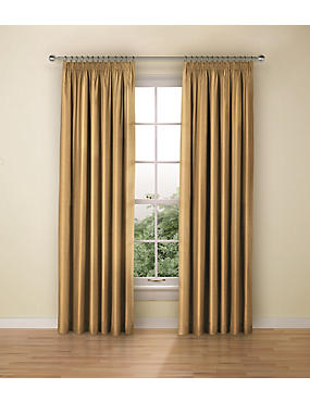 Faux Silk Black Out Pencil Pleat Curtain, OCHRE, catlanding