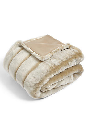 Sheared Stripe Faux Fur Throw