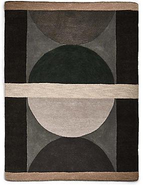 Pure Wool Semi Circles Rug, GREY MIX, catlanding