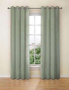 Textural Stripe Eyelet Curtains, DUCK EGG, catlanding