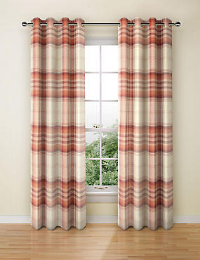 Cosy Checked Eyelet Curtains, RED MIX, catlanding
