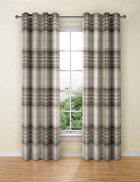 Cosy Checked Eyelet Curtains, GREY MIX, catlanding