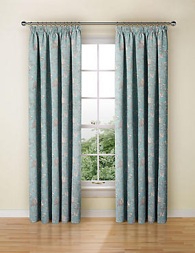 Floral Toile Print Pencil Pleat Curtain
