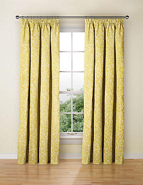 Floral Print Pencil Pleat Curtain, OCHRE, catlanding