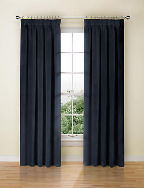 Velvet Pencil Pleat Curtain, NAVY, catlanding