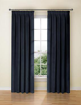Velvet Pencil Pleat Curtains, NAVY, catlanding