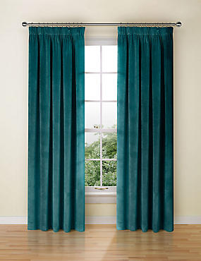 Velvet Pencil Pleat Curtains, TEAL, catlanding