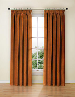 Velvet Pencil Pleat Curtain, BURNT ORANGE, catlanding