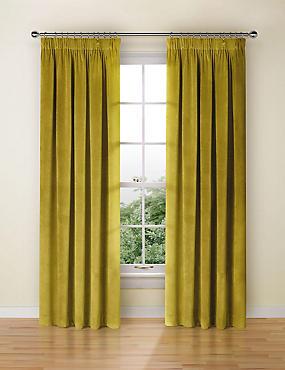 Velvet Pencil Pleat Curtains, OCHRE, catlanding