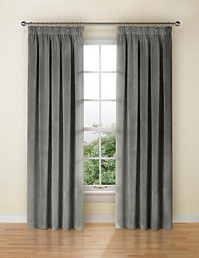 Velvet Pencil Pleat Curtain, GREY, catlanding