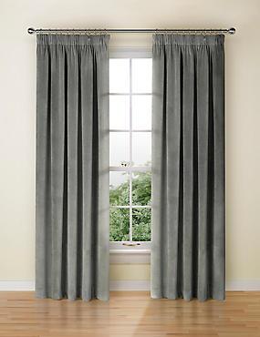Velvet Pencil Pleat Curtains, GREY, catlanding