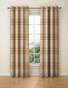 Blain Checked Eyelet Curtains, OCHRE, catlanding