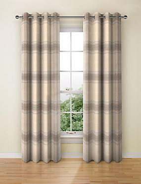 Blain Checked Eyelet Curtains, NATURAL MIX, catlanding
