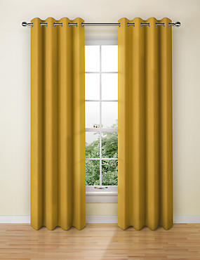 Yellow Ready Made Curtains | Gold & Lemon Eyelet Curtain | M&S