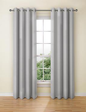 Banbury Weave Eyelet Curtains, LIGHT GREY, catlanding