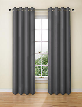 Banbury Weave Eyelet Curtains, DARK GREY, catlanding