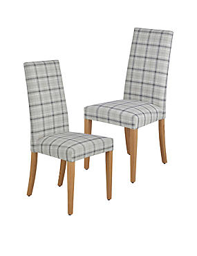 2 Denford Checked Grey Mix Dining Chair