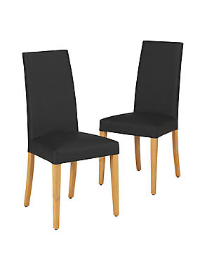 2 Alton Black Leather Dining Chair