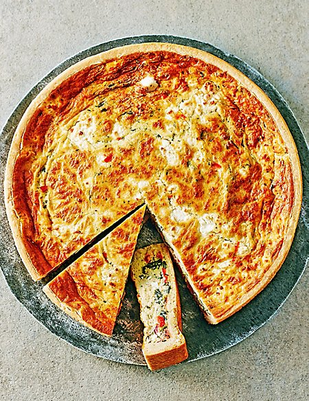 Large Red Pepper, Feta & Spinach Quiche (Serves 10)