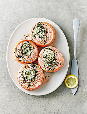 Scottish Salmon Medallions with Mascarpone, Lemon & Roast Garlic