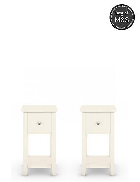 2 Hastings Ivory Compact Bedside Chests