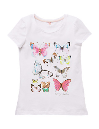 Cotton Rich Butterfly Print Girls T-Shirt (5-14 Years) Clothing