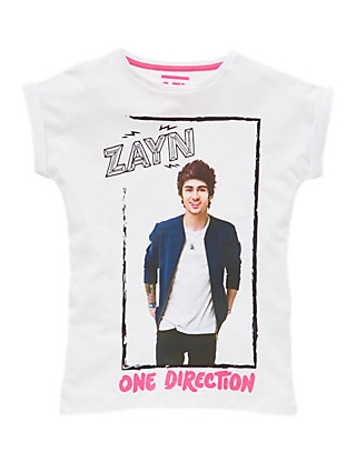 Pure Cotton One Direction Zayn Girls T-Shirt (5-14 Years) Clothing