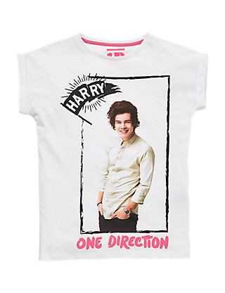 Pure Cotton One Direction Harry Girls T-Shirt (5-14 Years) Clothing