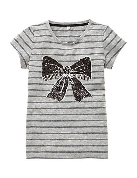 Striped & Sequin Embellished Bow Girls T-Shirt (5-14 Years)