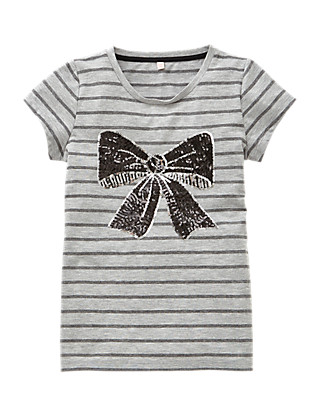 Striped & Sequin Embellished Bow Girls T-Shirt (5-14 Years) Clothing