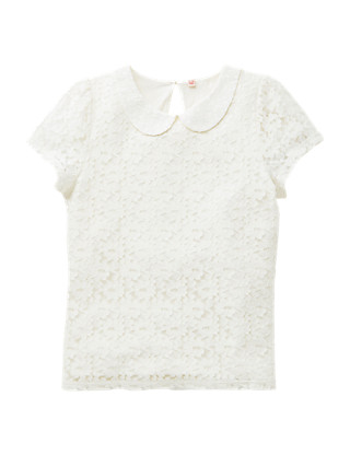 Cotton Rich Lace Girls Blouse (5-14 Years) Clothing