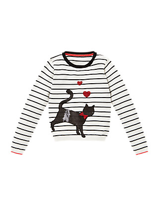 Pure Cotton Cat Striped Jumper (5-14 Years) Clothing